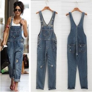 American Rag distressed denim boyfriend overalls